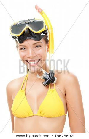 Woman snorkeler with goggles, flippers and snorkel smiling in summer bikini. Snorkeling, swimming, vacation concept isolated on white background. Chinese Asian / Caucasian female model
