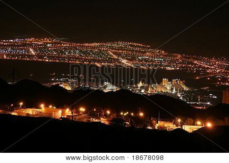 Night View from High of the City of Eilat, Israel