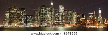 Panoramic view of Lower Manhattan skyline at Night
