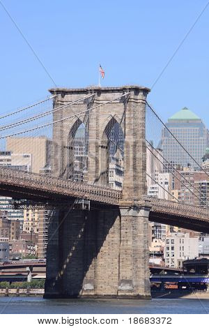 Stock Photo: Brooklyn Bridge and Manhattan Skyline, New York City