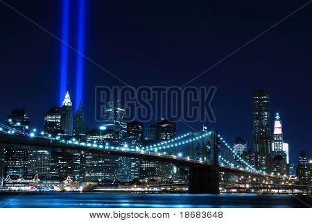 Brooklyn Brigde and the Towers of Lights at Night