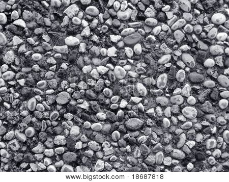 Wall made of small river stones , BW photo , nice texture for your projects