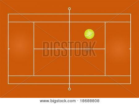 Vector illustration of a tennis court