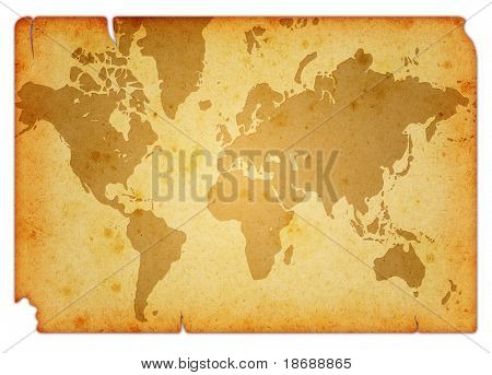 Computer designed grunge world map background isolated on white