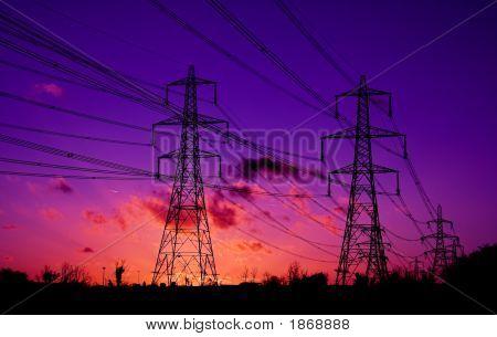 Pylon Sunset Fiery