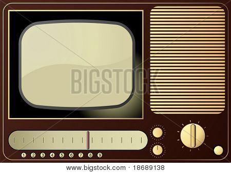 Editable vector background - retro radio and TV