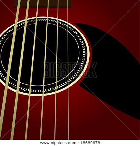 Editable  vector background - Dark acoustic guitar close up
