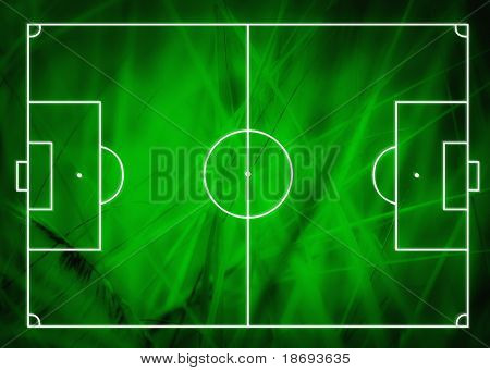 Football (Soccer Field) illustration with realistic macro grass texture and space for your text