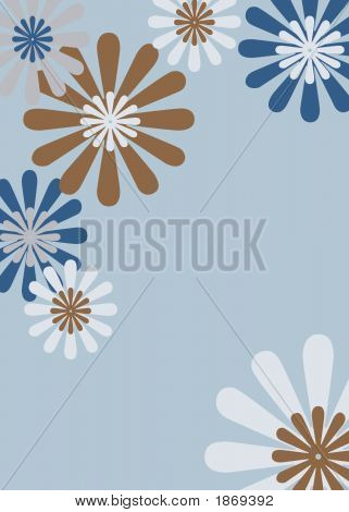 Retro Brown & Blue Floral Background