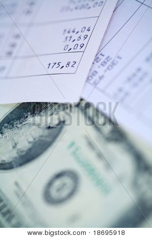 Money and bills close up photo , Paying bills concept