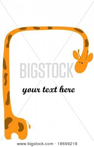 two vector love Giraffes on white background