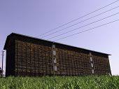 stock photo of tobacco barn  - Barn for storage and drying process of tobacco plants - JPG