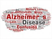 Concept conceptual old Alzheimer`s disease symptom abstract word cloud isolated on background. Colla poster