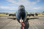pic of afterburner  - Nose view of BAE Hawk jet plane displayed at an airshow - JPG