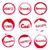 Positive Words Collection Of Round Watercolor Stains With Honest, Friendly, Amazing, Awesome, Beauti poster