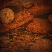Baseball rendering on old vintage background.