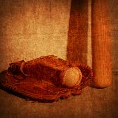 Old rendering close-up of a bat, ball, and glove.