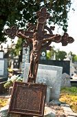 stock photo of crucifiction  - A statue of Jesus Christ on a graveyard - JPG