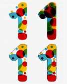 Set Of 4 Isolated Abstract Lava Lamp Styled Number One - 1, Vivid Colors poster