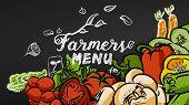 Farmers Menu Vegetables And Doodles poster