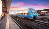 Beautiful View With Modern High Speed Train poster