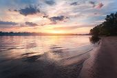 Colorful Sunset At The River. Summer Landscape poster