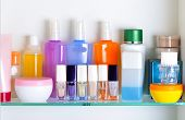 picture of personal care  - white bathroom shelf with cosmetics and toiletries - JPG