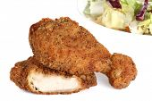 stock photo of fried chicken  - southern fried chicken drumsticks and thighs crispy golden - JPG