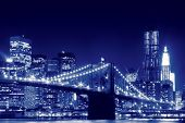 image of brooklyn bridge  - Brooklyn Bridge and Manhattan Skyline At Night - JPG