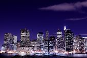 picture of new york night  -  View of Manhattan Skyline from Brooklyn At Night - JPG