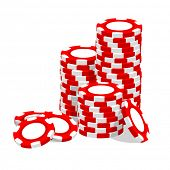 Casino vector outline red chips on white