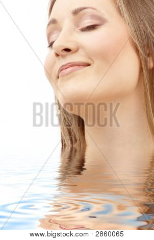 Bright Picture Of Smiling Woman In Water