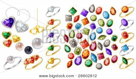 Big collection of different jewels on white. Raster version.