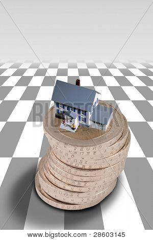 Property stock market crash, pound coins, houses