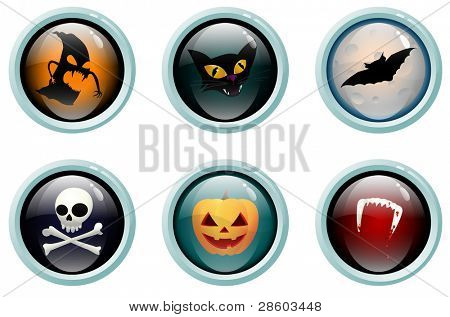 Glass buttons with Halloween symbols