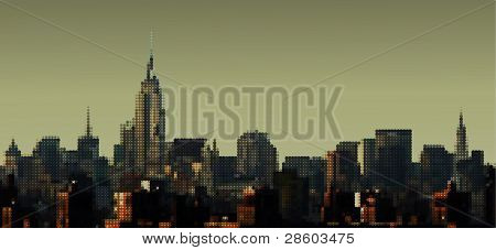 gepunktete Blick auf Manhattan von Brooklyn Bridge, Empire State Building, Vektor