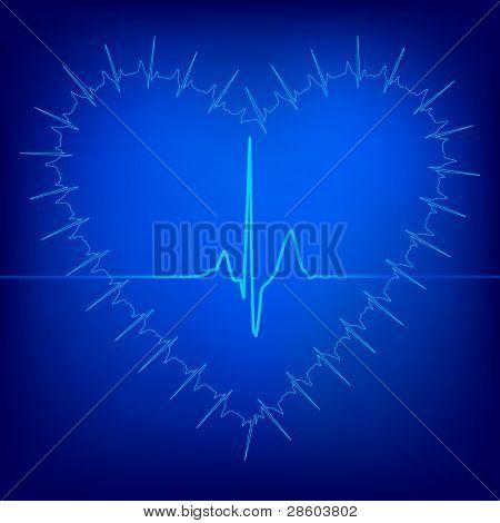 heart beat background, vector illustration
