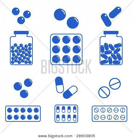 medical icons, vector set of different pills