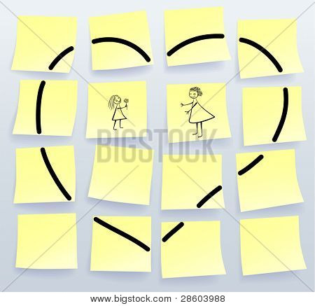 Sticky notes for Mothers Day, vector illustration