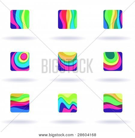 set of nine colorful symbols