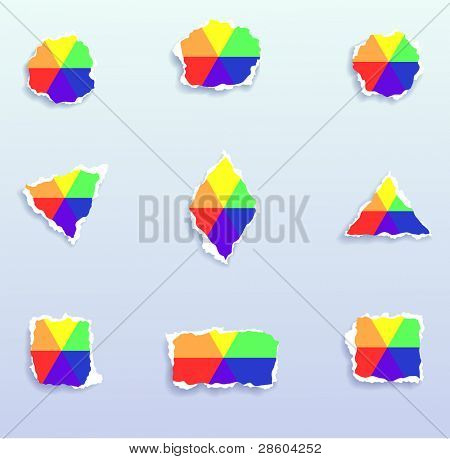 Torn paper colorful icons, vector set