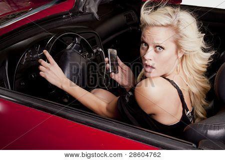 Woman Phone Car Looking