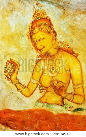 Ancient Frescos On Mount Sigiriya, Sri Lanka ( Ceylon ).