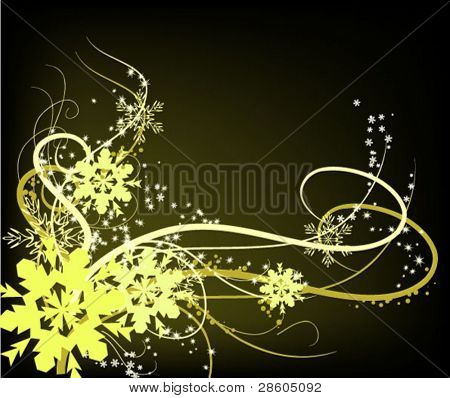 Composition with gold snowflake on black background