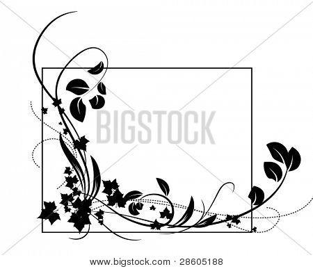 Framework with a black vegetative ornament