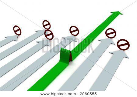 Wahl der Richtung der Bewegung. 3D-Bild.