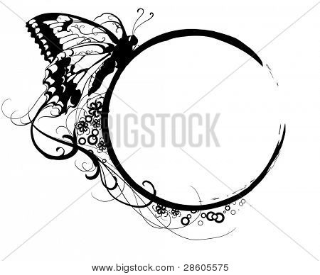 Black banner with a silhouette of butterfly