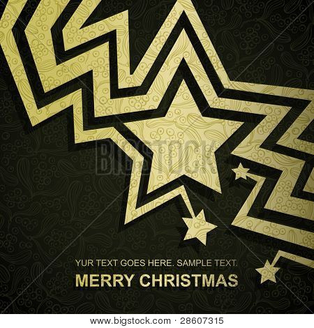 Christmas card made of gold fancy paper, vector eps8 format