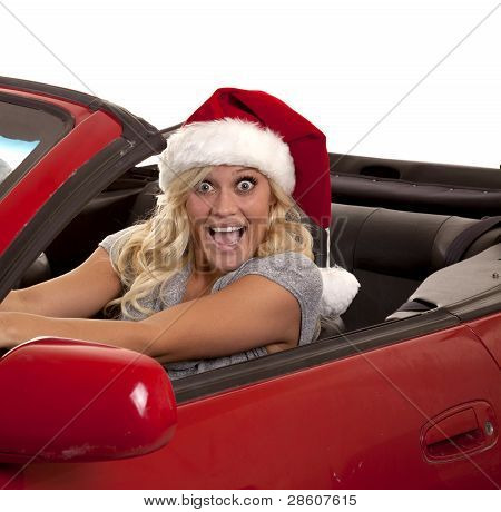 Woman Very Happy Santa Hat Car