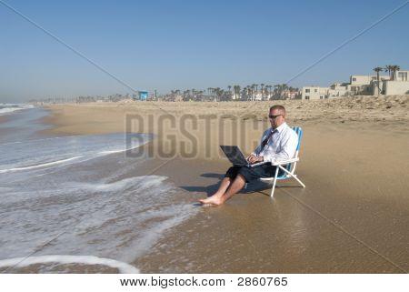 Businessman On Beach Working